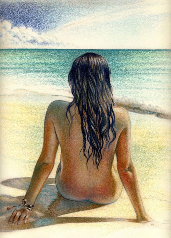 chica morena en playas de brasil