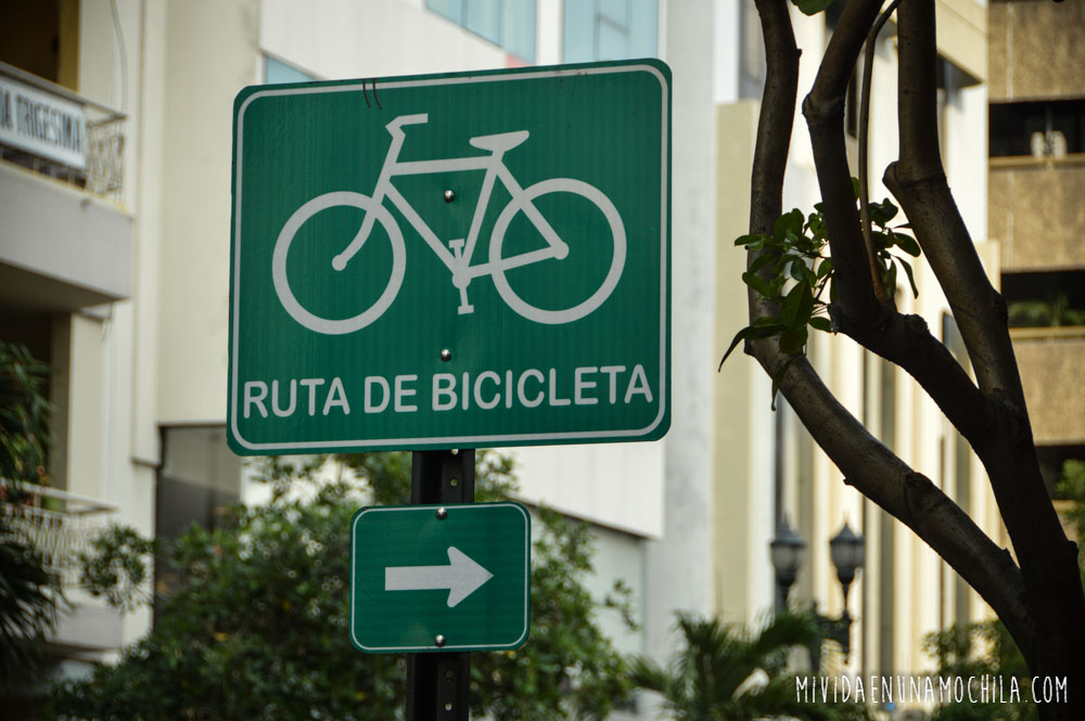 ruta de bicicleta cartel